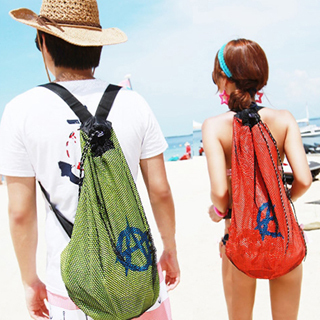 Mesh beach bag sports bag shoulder bag storage bag lovers backpack travel bag swimming special package pouch