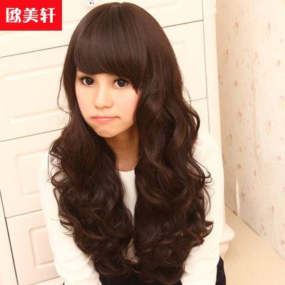 Korean version of the new female long hair wig hair fluffy female fashion female qi liu oblique bangs long hair wig free shipping