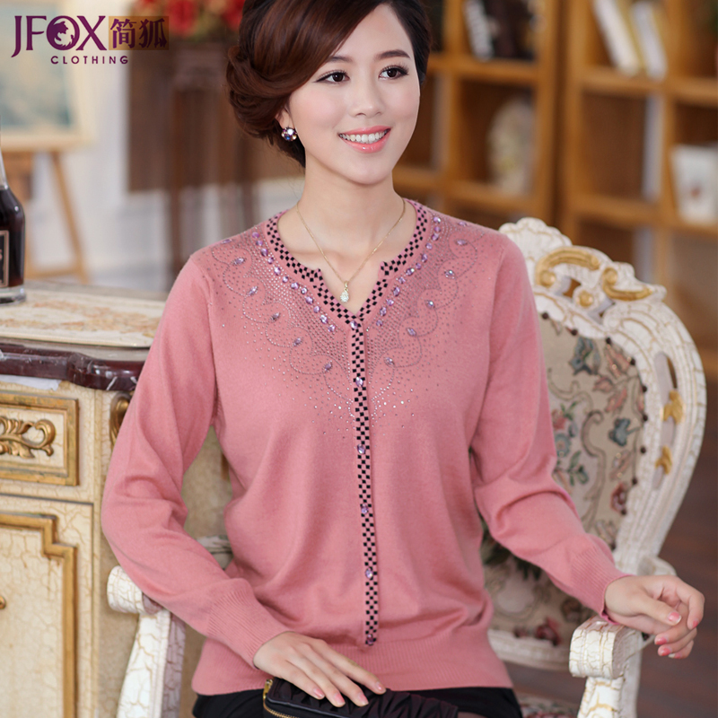 Jane fox middle-aged middle-aged autumn and winter sweater middle-aged women new mother dress fake cardigan sweater knit leisure wang