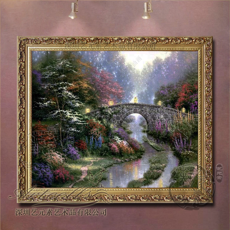 Painted landscape oil painting framed painting of european decorative painting the living room dining bedroom villa thomas garden view t054