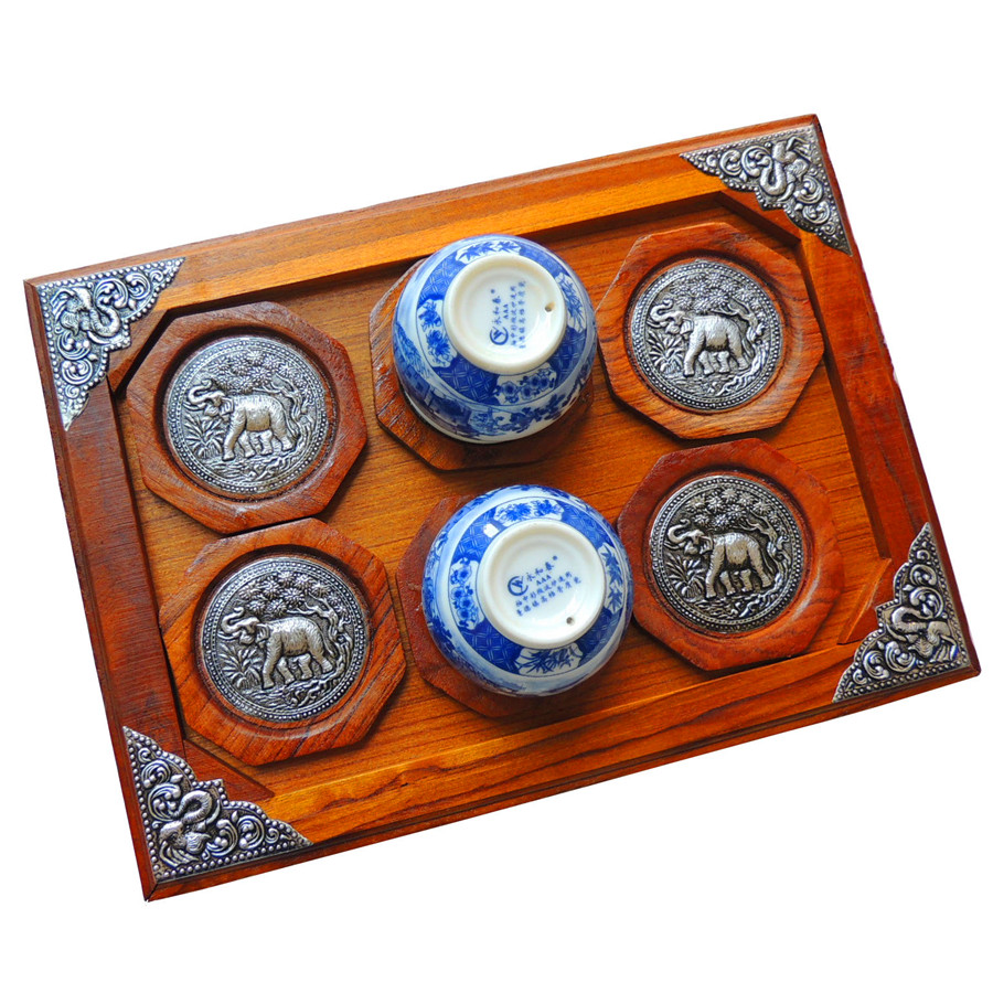 Poem maha thai import features arts and crafts wood carvings tin coasters set 6 sets of hotel spa supplies