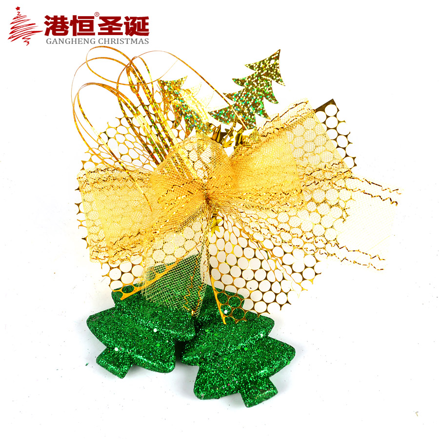 Hong kong hang christmas bow christmas tree decorations 20 * 15cm golden bow christmas tree ornaments hanging 25 G