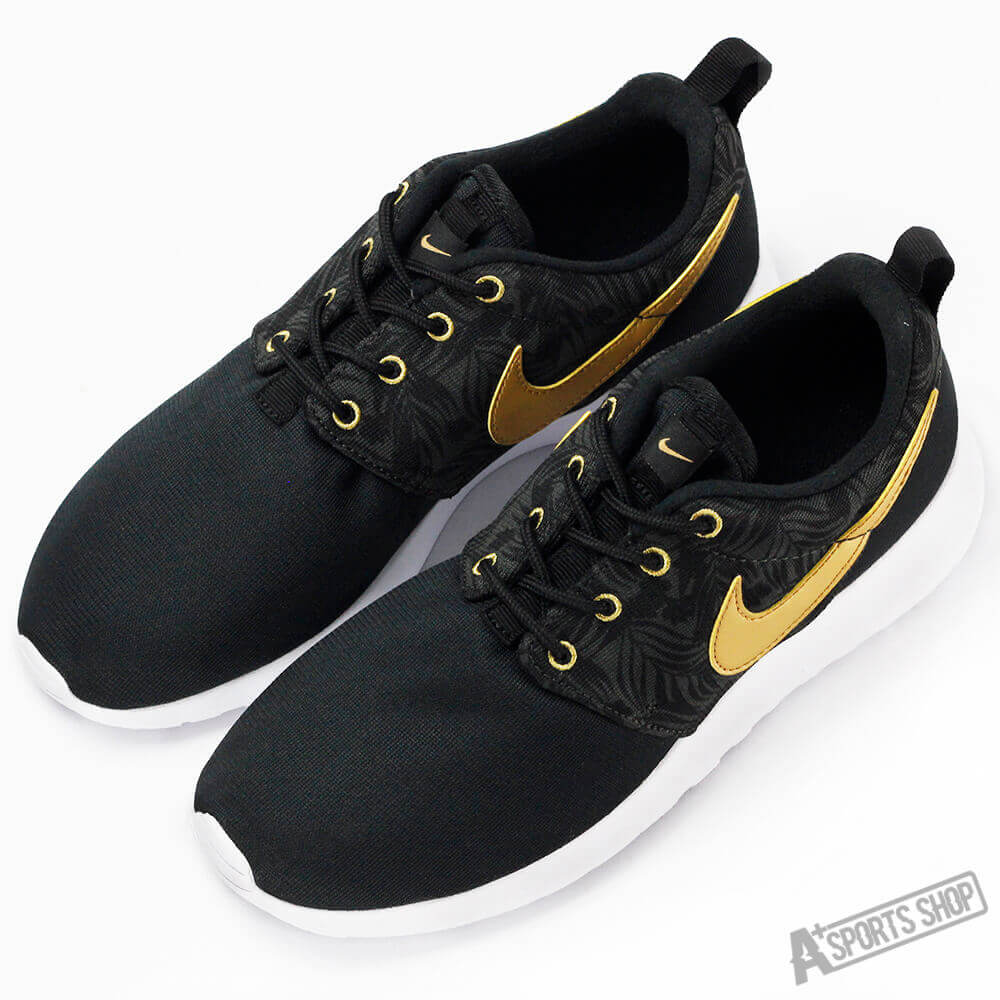 db3a5d7dfd349 Get Quotations · Nike big boy casual shoes nike roshe one print bg black  gold-677782010