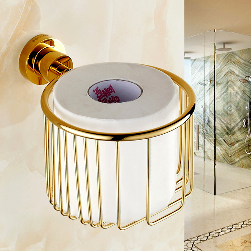 Pollock continental gilt golden dustbin basket basket full of copper toilet paper holder toilet paper holder towel rack shelving