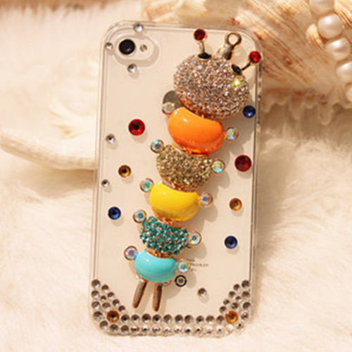 Various models of mobile phone shell made of custom rhinestone cell phone protective cover shipping diamond colored caterpillar