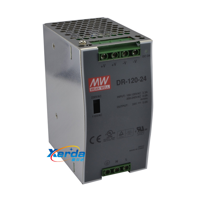 Rail switching power supply dr-120-24 meanwell mw taiwan meanwell rail switching power supply 24 v 5a dc power