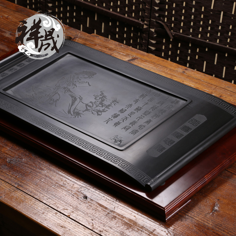 Xiang sheng natural black stone tea tray kung fu tea tray tea tea tea pet play a scholarly inblock large stone tea sets tea tray