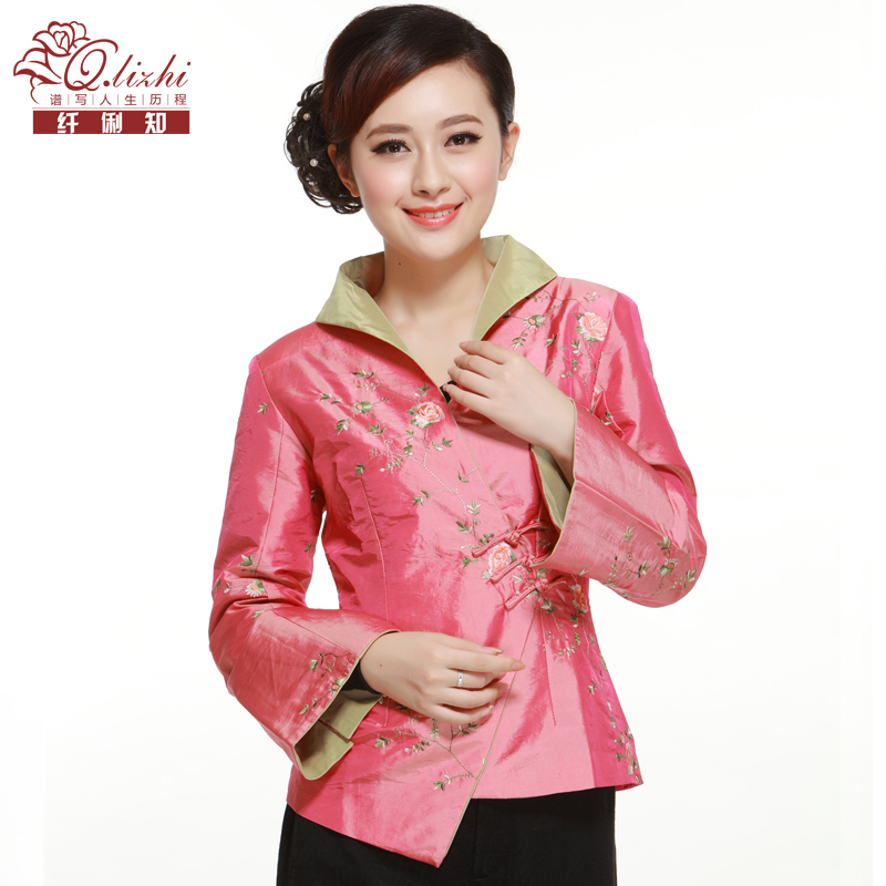 2016 autumn new pink 3 oblique buckle pankou collar fashion improved cheongsam jacket miss tang zhuang li fiber known