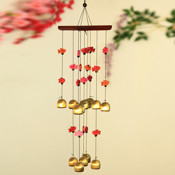 Lucky fish colorful fish square top brass bell chimes door trim ornaments true copper copper metal wind chimes wind chimes gift