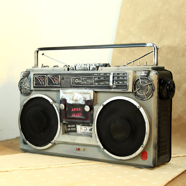 Retro nostalgia vintage tin recorder radio tv model ornaments shoot photography props decoration