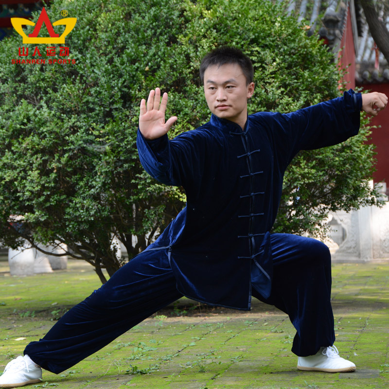 Hermit sports houde fall and winter gold velvet tai chi clothing clothes and men and women in south korea does not fall down tai chi clothing