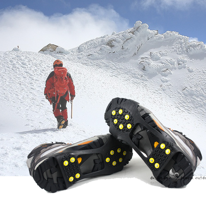 An upgraded version of 10 teeth ten nail fishing outdoor climbing shoes slip shoes snow ice claw grip