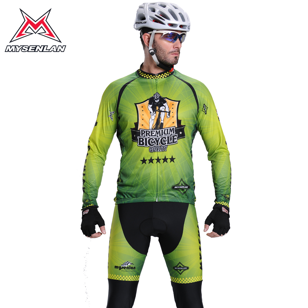 Mai senlan green long sleeve jersey suits bike jersey long sleeve suit male new