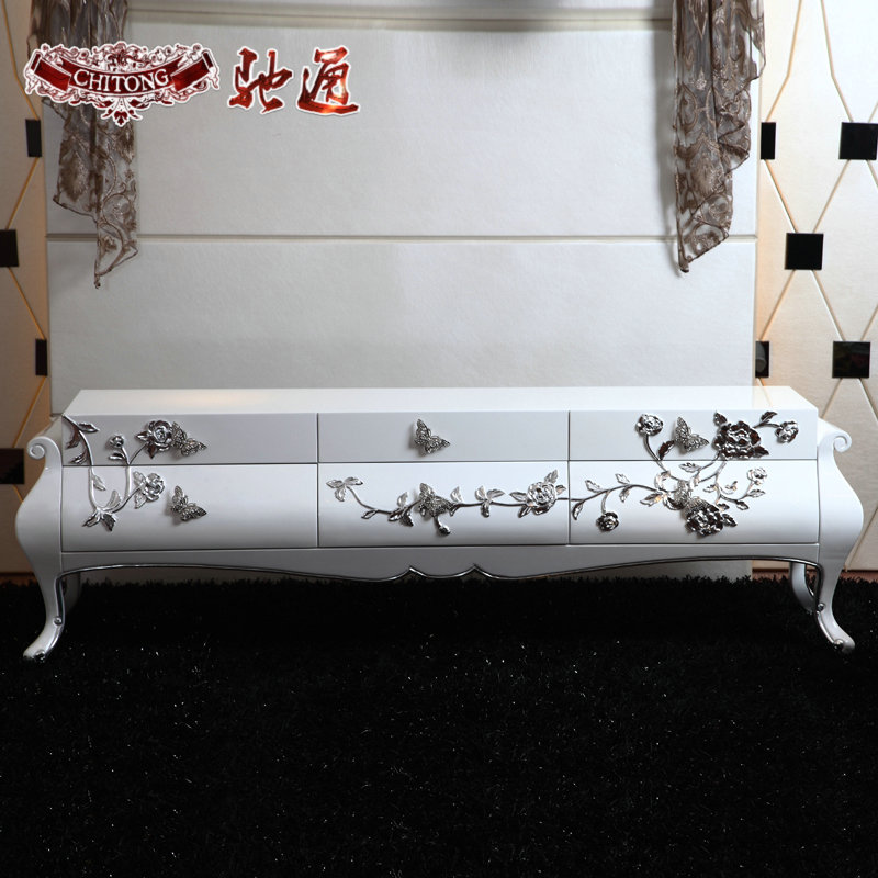 Chi tong neoclassical furniture european solid wood tv cabinet tv cabinet tv cabinet luxurious new white paint tv cabinet tv cabinet