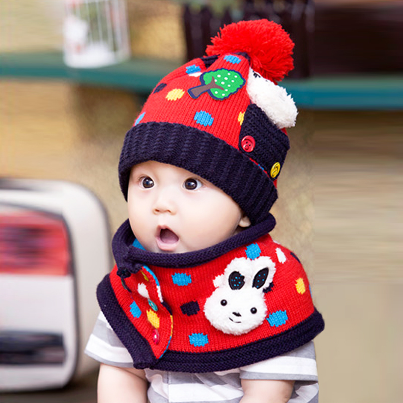 The new baby winter hat wool hat boys and girls baby hat winter hat ear cap + scarf kit