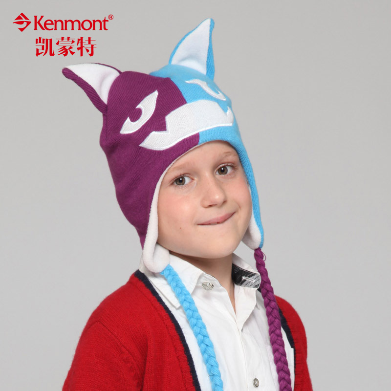 Kenmont autumn and winter hats for children animal hat children boys and girls hat knitted hat ear cap 4828