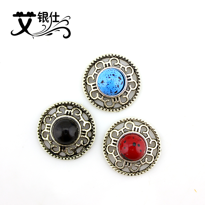 Ai yinshi diy jewelry accessories imitation tibetan silver inlaid imitation turquoise stone pine retro accessories 18mm alloy disc