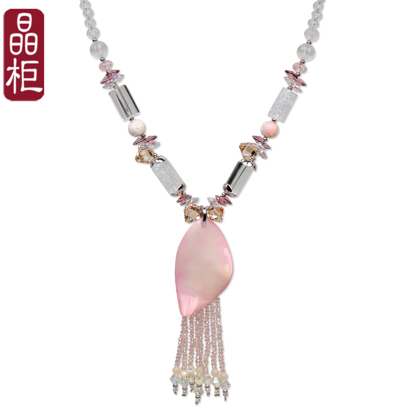 Crystal cabinet upscale fashion austrian crystal natural pearl sweater chain long necklace korean female new
