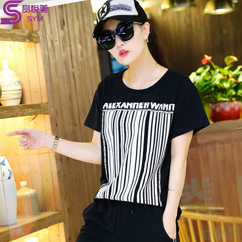 200 of fat mm summer fat sister fertilizer to increase size women t-shirt was thin piece leisure sports suit female