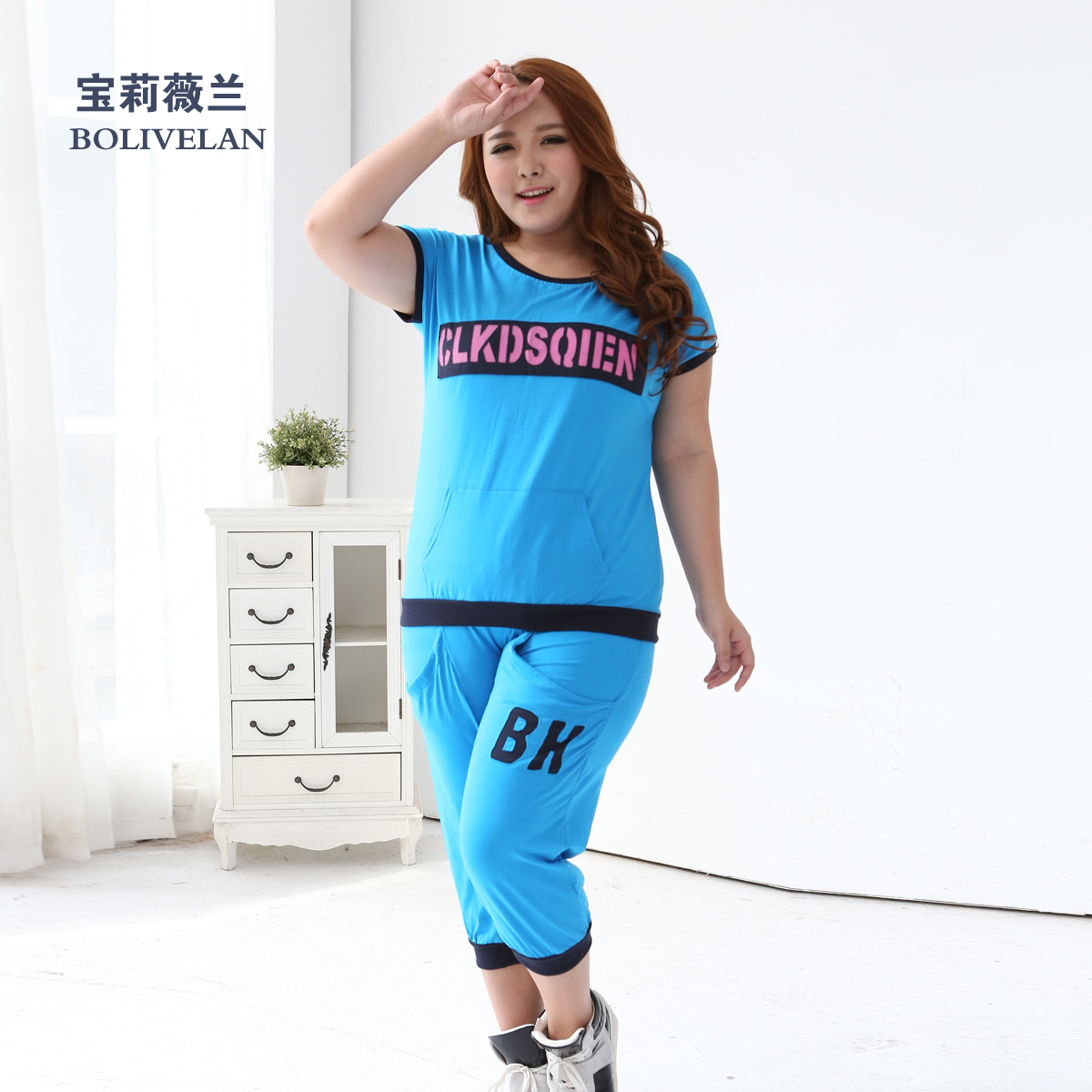 200 of fat mm summer fat sister large size women casual sports suit plus fertilizer to increase short sleeve t-shirt sportswear
