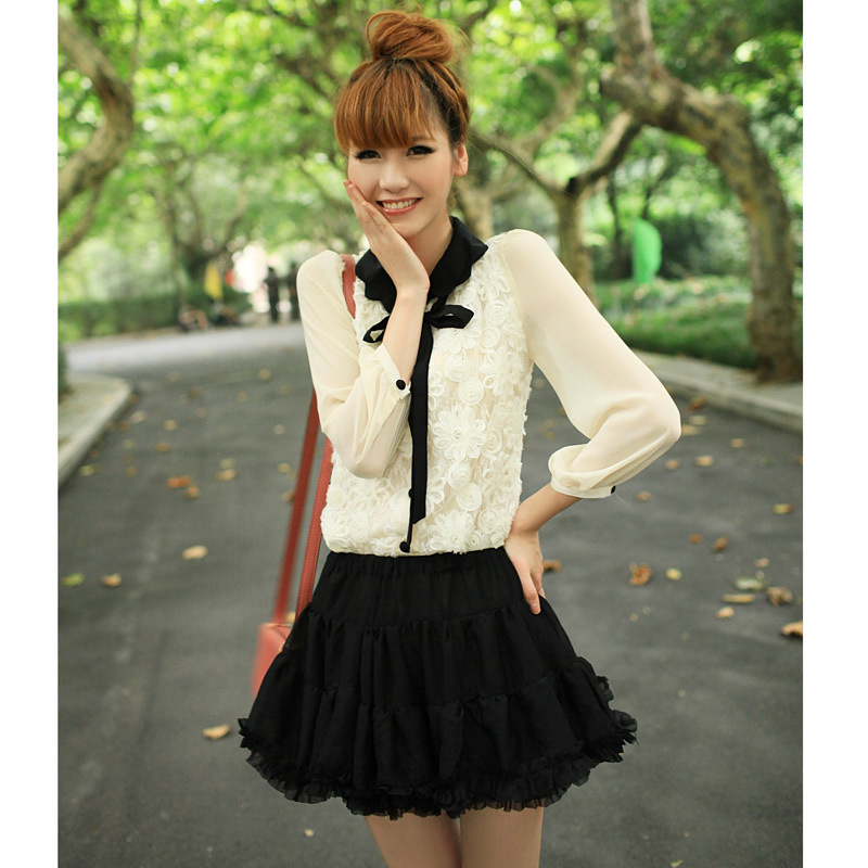 2011 hitz women korean version of white lace blouse chiffon shirt solid color long sleeve shirt bottoming shirt 3057