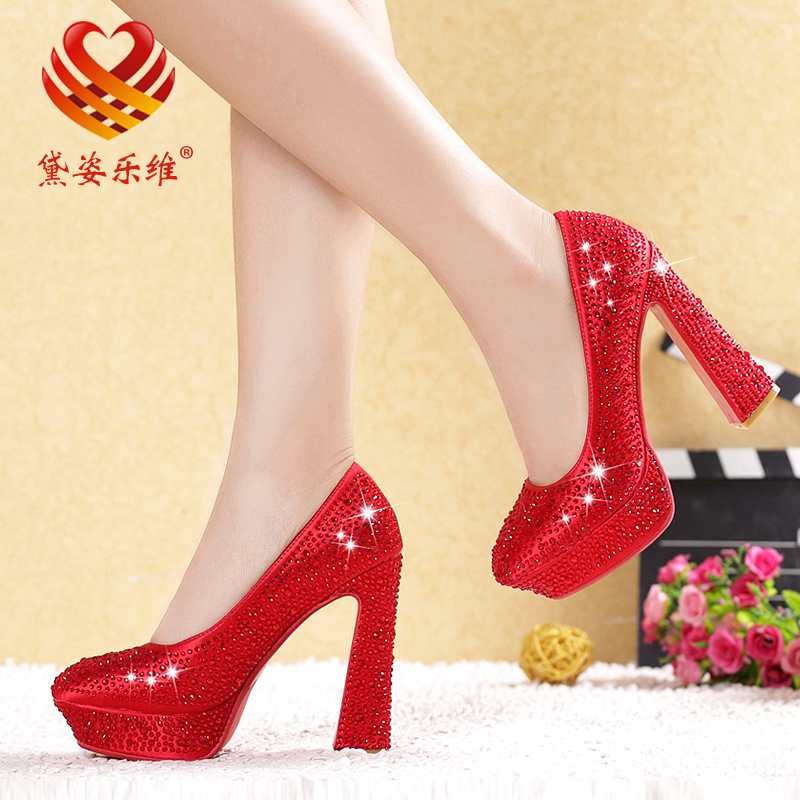 2014 new diamond crystal red satin bridal shoes thick with round white bridal wedding shoes super high heels shoes