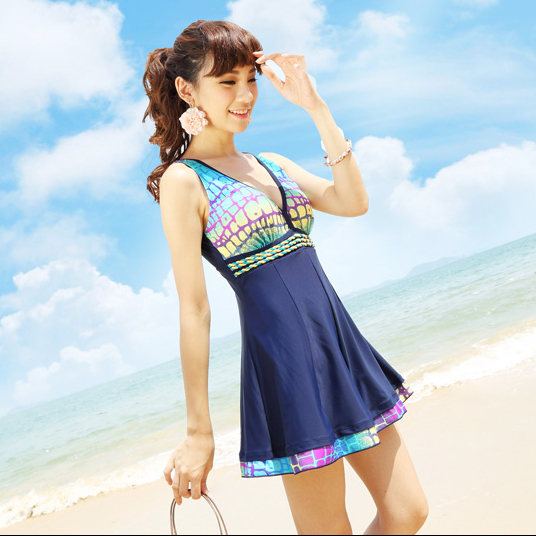 2014 new piece swimsuit skirt style conservative swimsuit cover belly spa swimsuit cover the belly was thin female swimsuit milky 84155