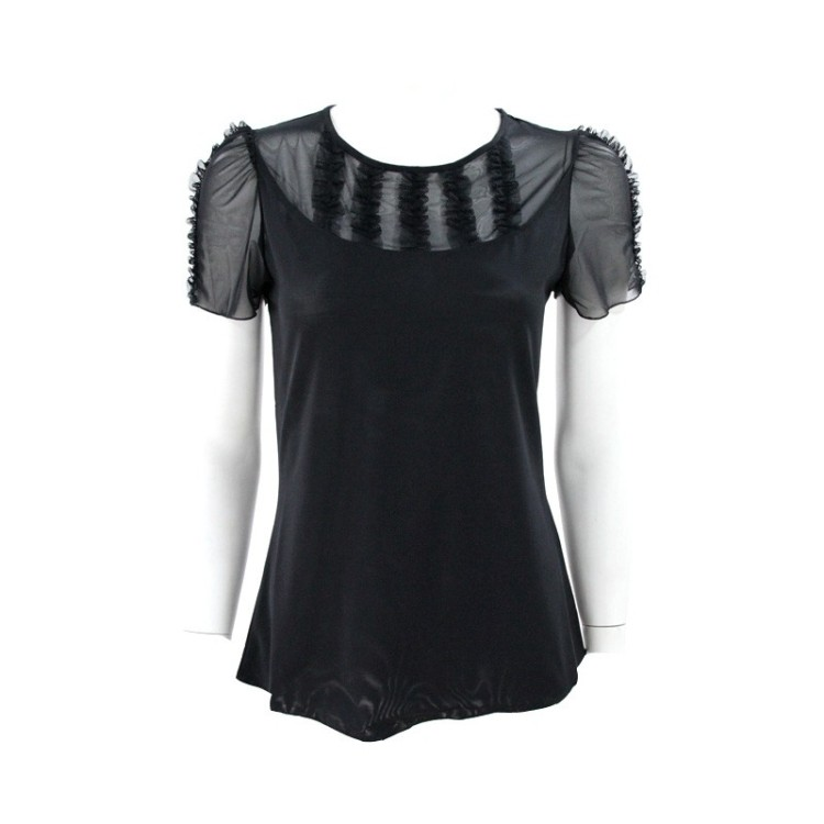 2014 new spring and summer t-shirt di qian ting transparent mesh juxtaposition begonia folds elegant temperament slim bottoming clothing