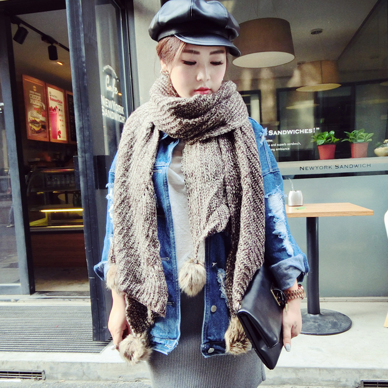 2015 autumn and winter new korean version of the retro astringent punchball thick wool scarves warm winter scarf female korean