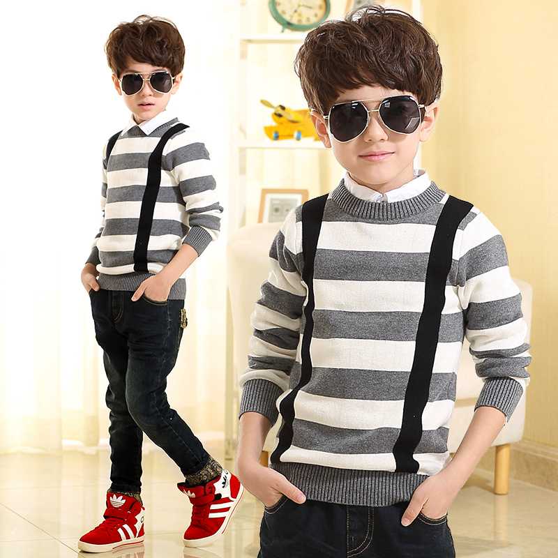 2015 autumn korean children's clothing big virgin boy sweater children hedging round neck sweater sweater korean wave