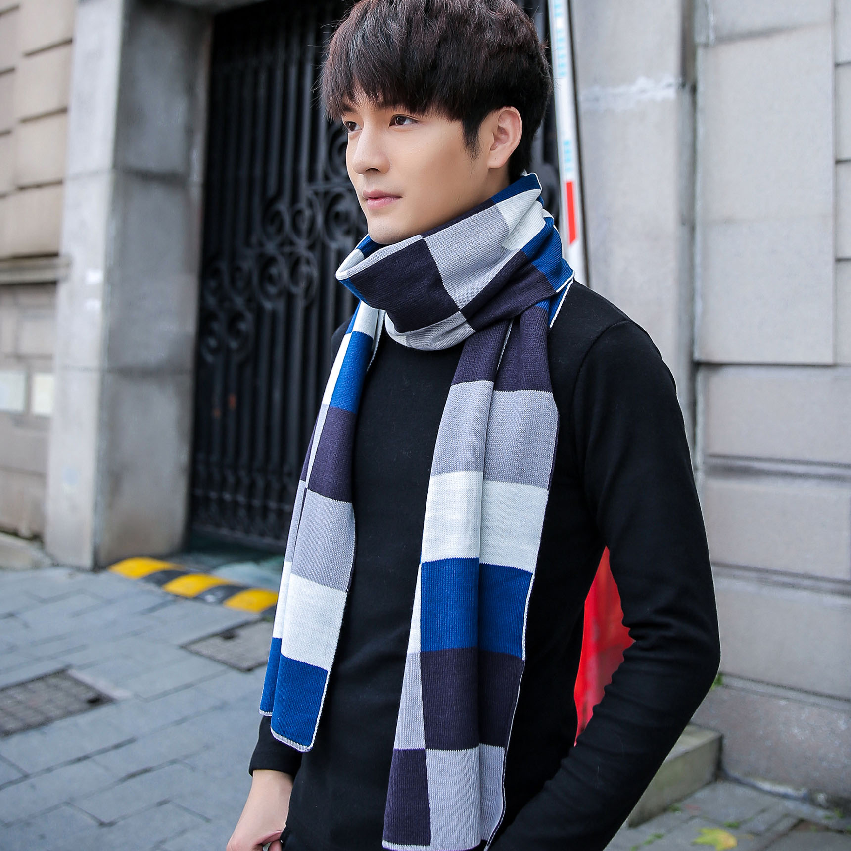 a4f9dd52f1 Get Quotations · 2015 korean version of the big european and american style  men s plaid scarf autumn and winter