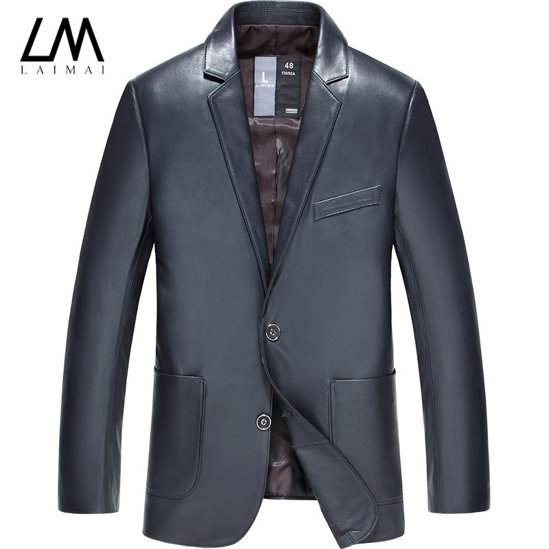 2015 men and two button suit slim haining leather leather leather suit peacey sheep leather men's leather thin section