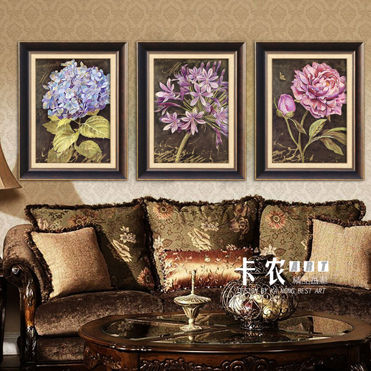 2015 new american high living room sofa backdrop mural painting decorative painting paintings entrance triple sets