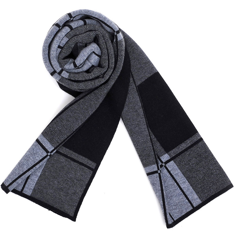 2015 new autumn and winter warm upscale men's scarves korean version of plaid wool scarf collar business men