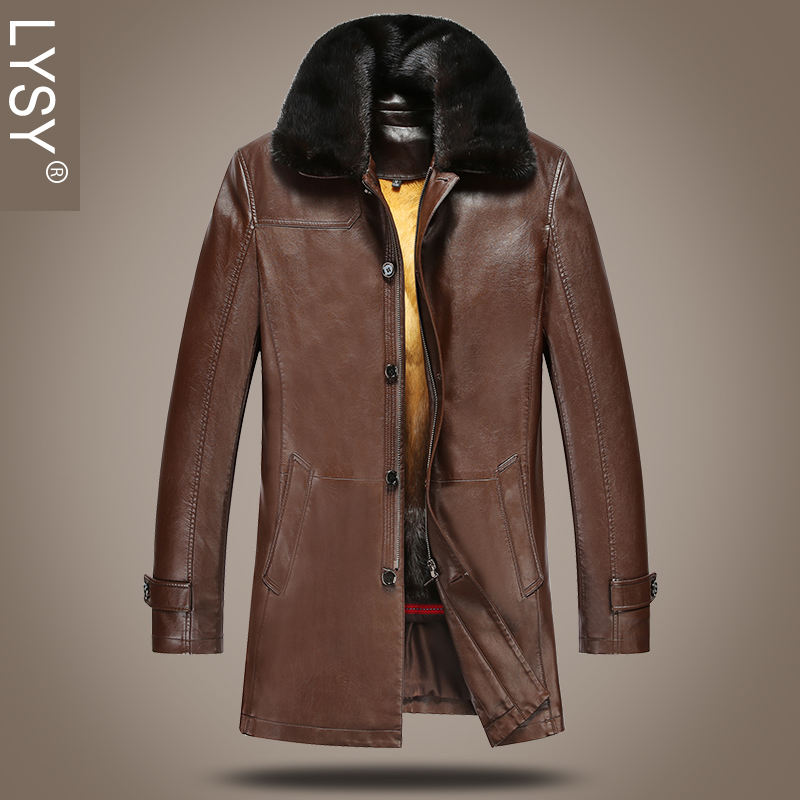 0dd2a595ef1 2015 new middle-aged men s leather haining water mink collar nick clothing  men s warm thick