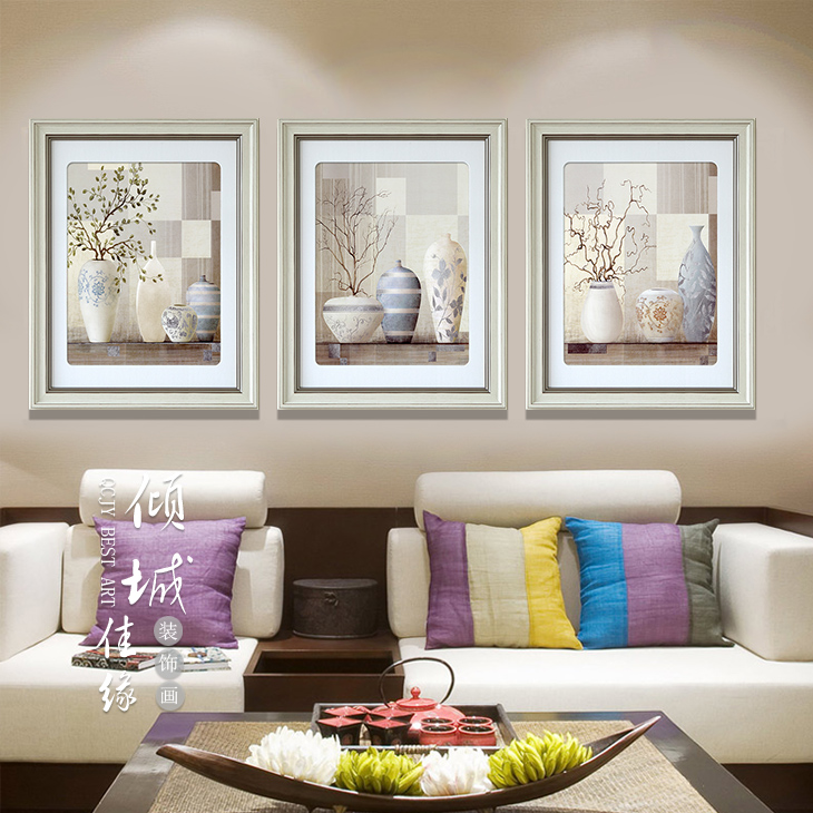 2015 new modern simple european paintings framed painting decorative painting the living room triple bedroom mural painting still life vase