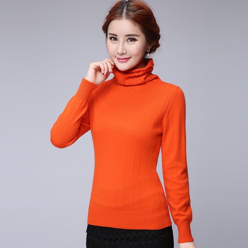 2015 new piles collar cashmere sweater cashmere sweater slim large size women female models sleeve head bottoming sweater woman