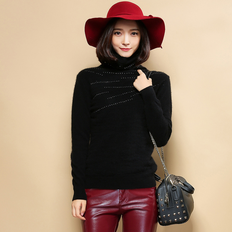 2015 new winter women's short section of solid piles collar hedging loose sweater sweaters big yards pure sheep ladieswear