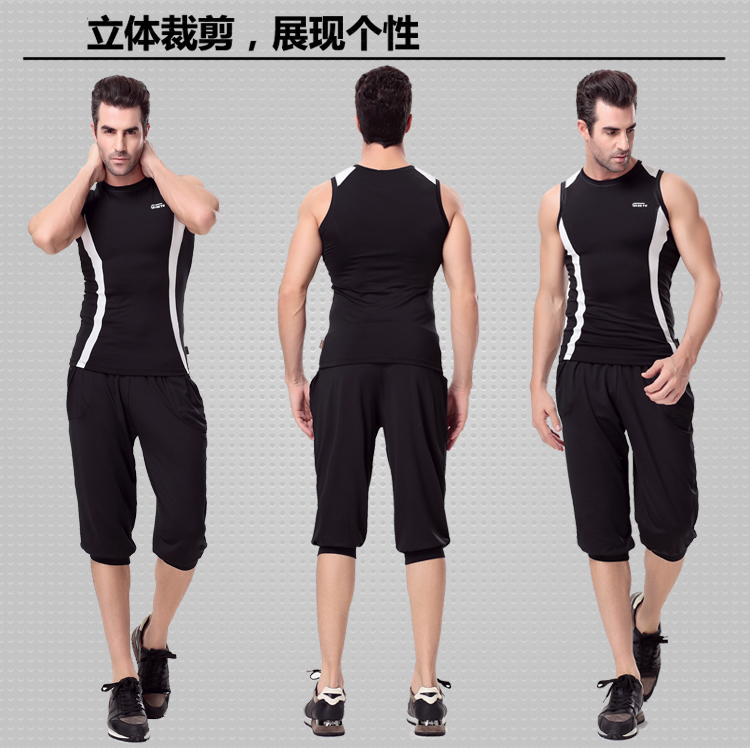 2015 sige figure aerobics gym y0151 + 0154 sports running fitness clothing jianmei fu workout clothes men