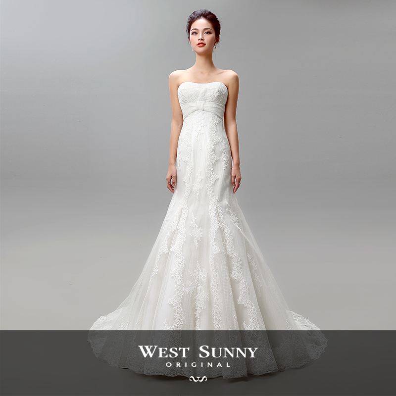 2015 summer bra fishtail lace wedding dress trailing custom wedding dress was thin waist