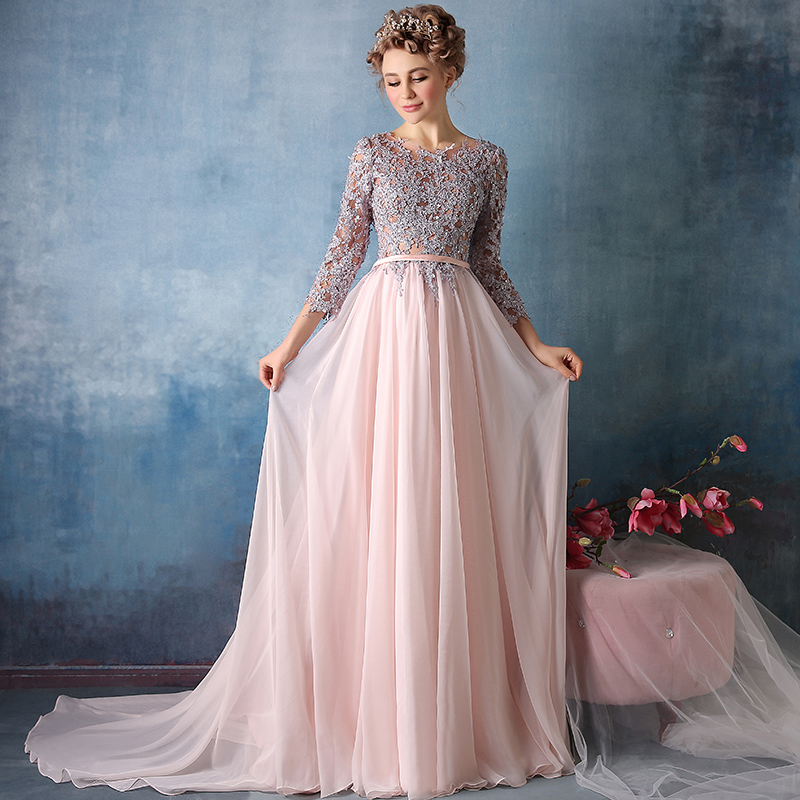2015 winter new word shoulder slim long evening dresses evening dresses annual meeting presided over the long sleeve bridal wedding dress trailing