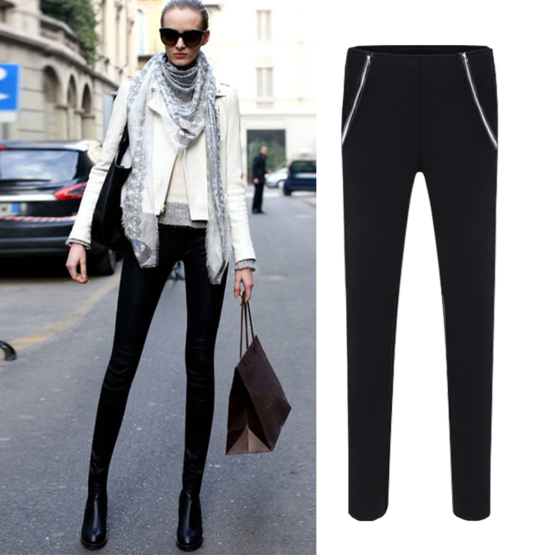 2016 autumn and winter explosion models in europe and america stretch double zipper black repair the body was thin outer wear big yards casual long pants women