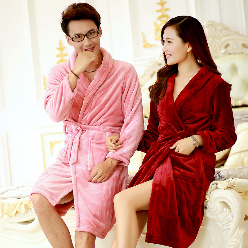 2016 autumn and winter flannel nightgown male couple ms. thick coral velvet robe bathrobe tracksuit habitat