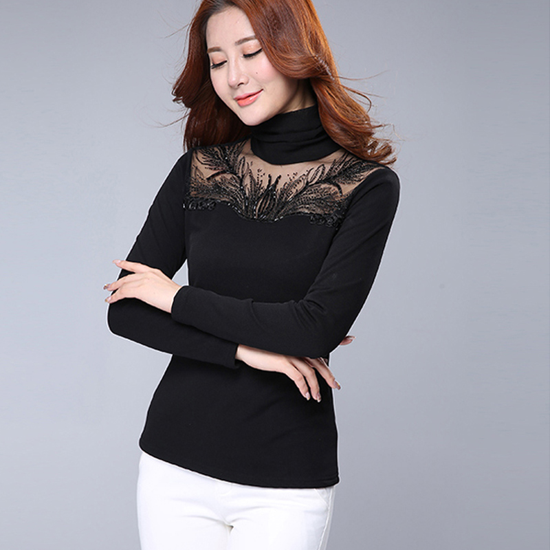 c84ce3cec9b Get Quotations · 2016 autumn and winter new high collar warm woman diamond  sexy perspective gauze bottoming shirt large