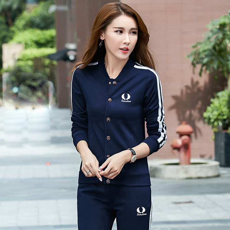 2016 autumn female models fashion piece leisure suit female models spring and autumn slim sports suit female suit autumn