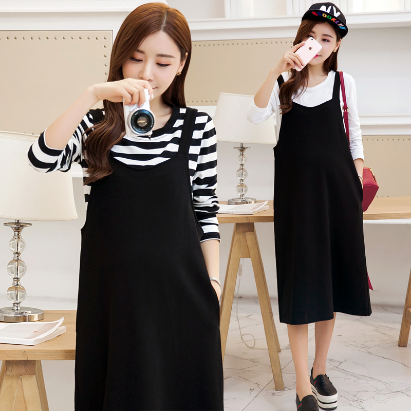 2016 autumn korean pregnant women maternity dress spring and autumn fashion maternity pregnant women skirt two piece dress and long sections