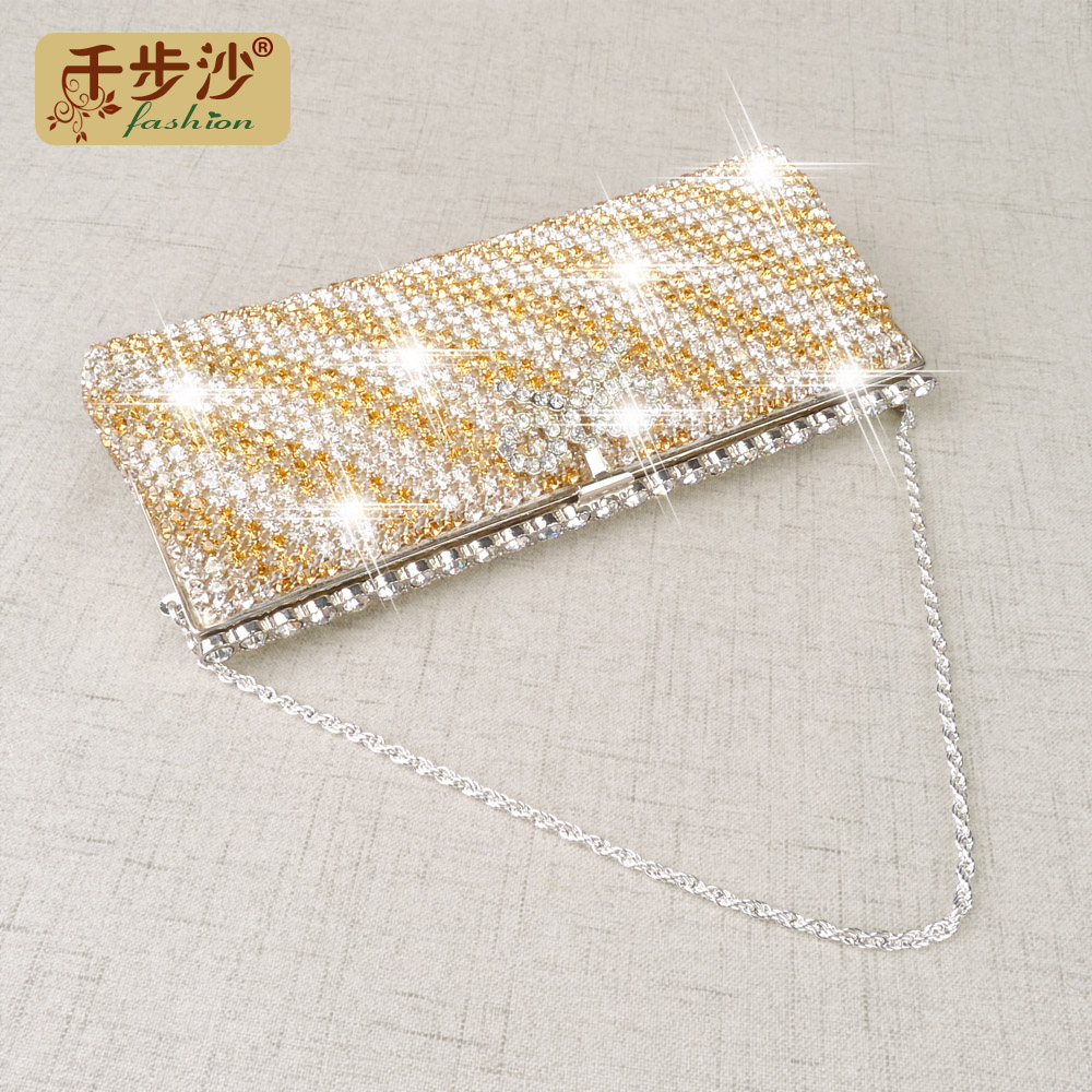 2016 autumn new female luxury diamond package clutch exquisite bow rhinestone evening bag clutch bag evening bag