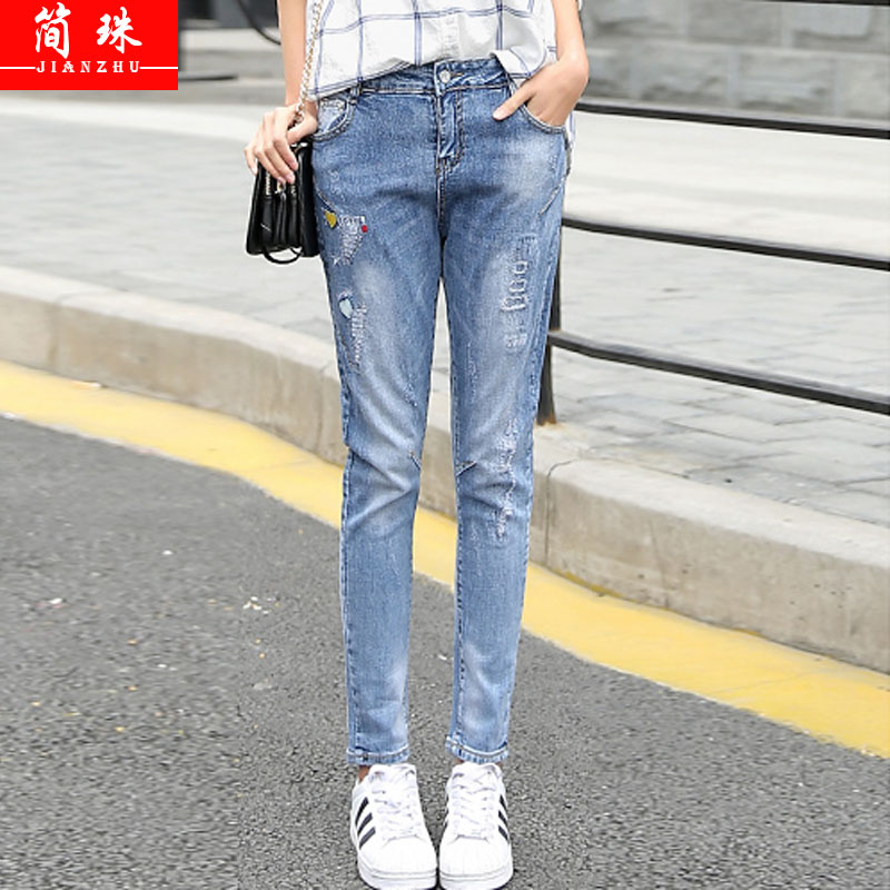 2016 autumn new girls embroidered jeans slim straight jeans korean student leisure wild pencil pants female