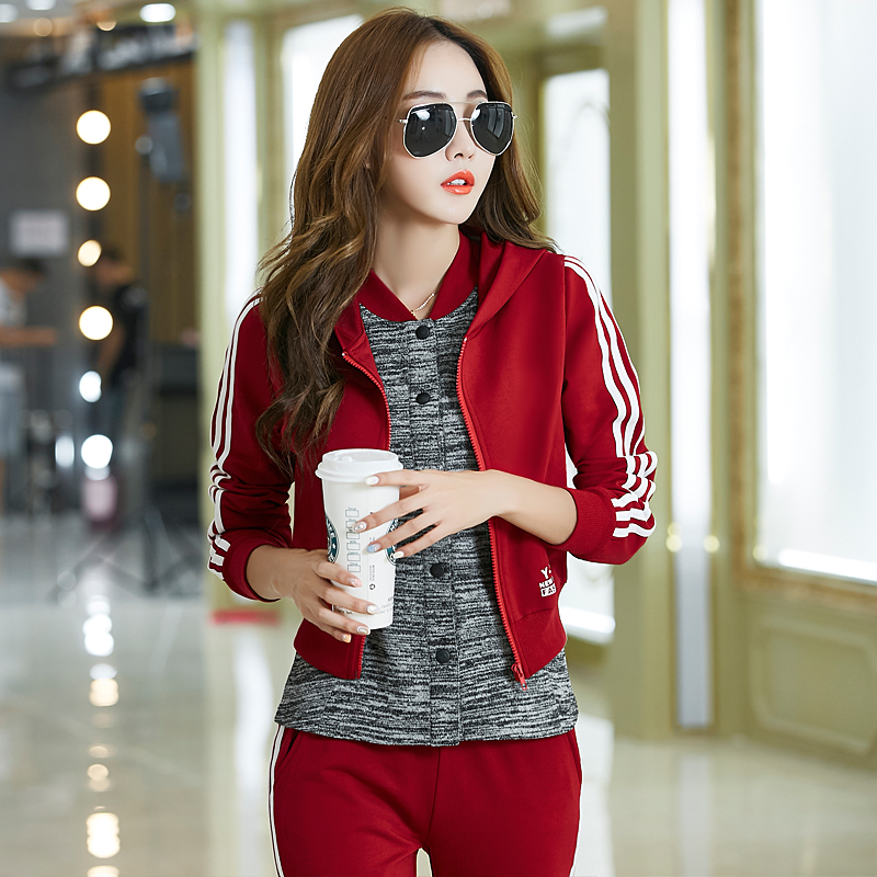 2016 autumn new long sleeve ladies casual sportswear three sets of clothes suit large size sportswear spring and autumn was thin