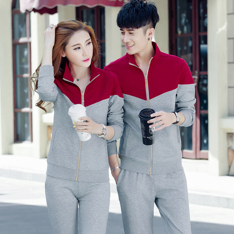 2016 autumn new middle-aged sports suit male spring collar long sleeved transport couple sportswear piece female cotton